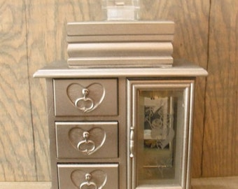 upcycled Jewelry box  3 vintage boxes in one tower ... Elegent silver chrome color With Vintage  heart storage chest