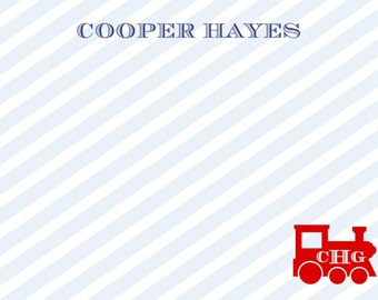 Train Stripe Stationery, Notecards, Invitation Set