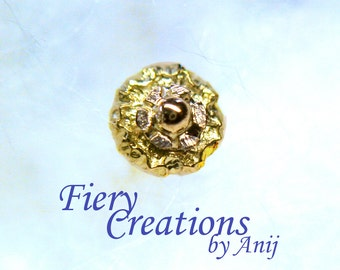 """Nose Screw / Tragus stud """"Golden Jewel of Machu Picchu"""" 18k SOLID yellow & white Gold, OOAK"""