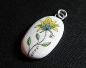 Flower Ink Art Pendant with the Word GROW