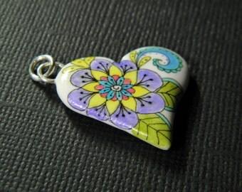 Flower Ink Art Heart Pendant