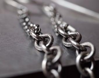 Funky edgy multi chain sterling silver earrings