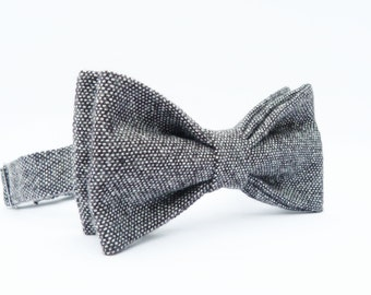 Mens Bow Tie - Black/Grey Tweed