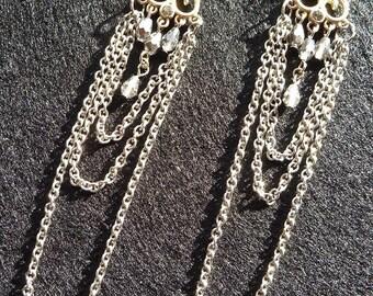 Grey and Silver Chandelier Post Earrings