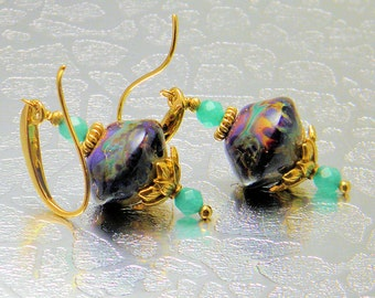 Lampwork earrings,Multi color earrings,24kt Vermeil Gold Earrings, Quartzite faced round Gemstone,GlassBead Earrings,gs