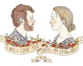 Custom Wedding Portrait: Hand-Painted Portrait Illustration Made-to-Order