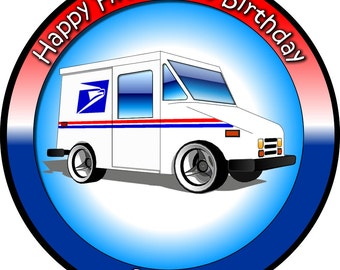Mail Truck Themed Stickers. Mail Truck Birthday Party. Delivery Truck Birthday Party Sticker. Postal Service Mail Delivery Truck Stickers