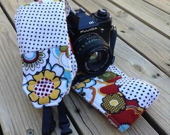 Ready To Ship Extra Long Wide Camera Strap for DSL camera Funky Print  lens cap pocket No Monogram