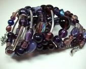 Shades of Purple Beaded Bangle Layered Wrapped Bracelet