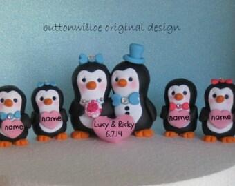 Cake Topper Penguin Family or Wedding Attendants Anniversary Wedding Cake Topper