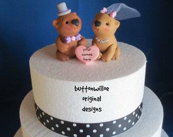 Whimsical Wombat Wedding Cake Topper Bridal Shower Cake Topper