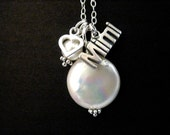 Grandmother Necklace Sterling Silver Mimi or Gigi Necklace with Coin Pearl