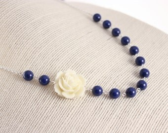 Bridal Jewelry Ivory Rose and Dark Blue Pearl Bridesmaid Necklace