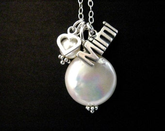 Sterling Silver Mimi or Gigi Necklace with Coin Pearl