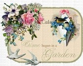 Digital Download Graphics Robins Birds Pink Cottage Roses Unlimited Use comes with Instructions on how to make Waterslide Decals too! ECS