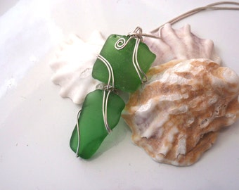 Unique Sea Glass Pendant Wire Wrapped in Tarnish Resistant Sterling Silver