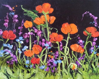POPPY WILDFLOWER Impressionist Painting CALIFORNIA Floral Landscape 16x20 Lynne French Art