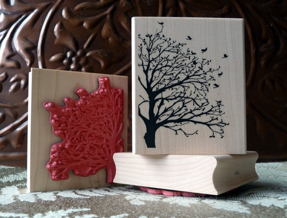 Silhouette tree and birds rubber stamp from oldislandstamps