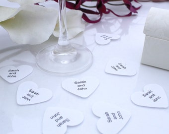 Personalized wedding confetti paper heart- 200 Bride and Groom name customized white punched hearts 3.5cm by 3cm- Romantic table decoration