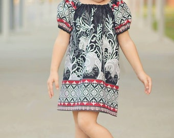 SEW GROOVY Peasant Dress Pattern -  Now 6m-14c  Sizes  - PDF Sewing Pattern - Instant Download