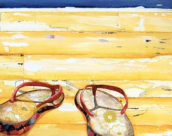 BEACH ART PRINT, sandals, flip flops, sea, beach print, beach decor, coastal decor, wall art, beach painting, mixed media, All Sizes