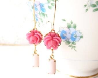 Vintage Jewel and Flower Earrings - Pink Rose - Whimsy - Bride - Bridesmaid - Ruffled Rose Earrings - Dainty Earrings