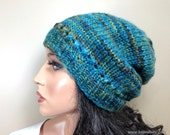 Baby Alpaca Knit Hat Beanie Multicolor Teal Blue Green Custom Made for Women Ladies Girls Teens Young Adult // Color H20