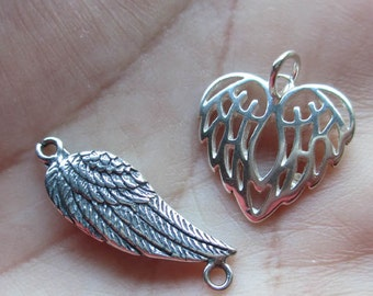 Sterling Silver Angel Wing Connector or Angel Wing Heart(one charm)You Choose which one