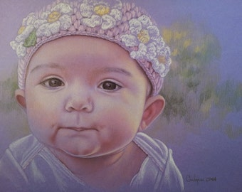 Children's Portrait Painting - Colored Pencil Children's Portraits - Custom Children's Portraits - Fine Art Children's Portraits
