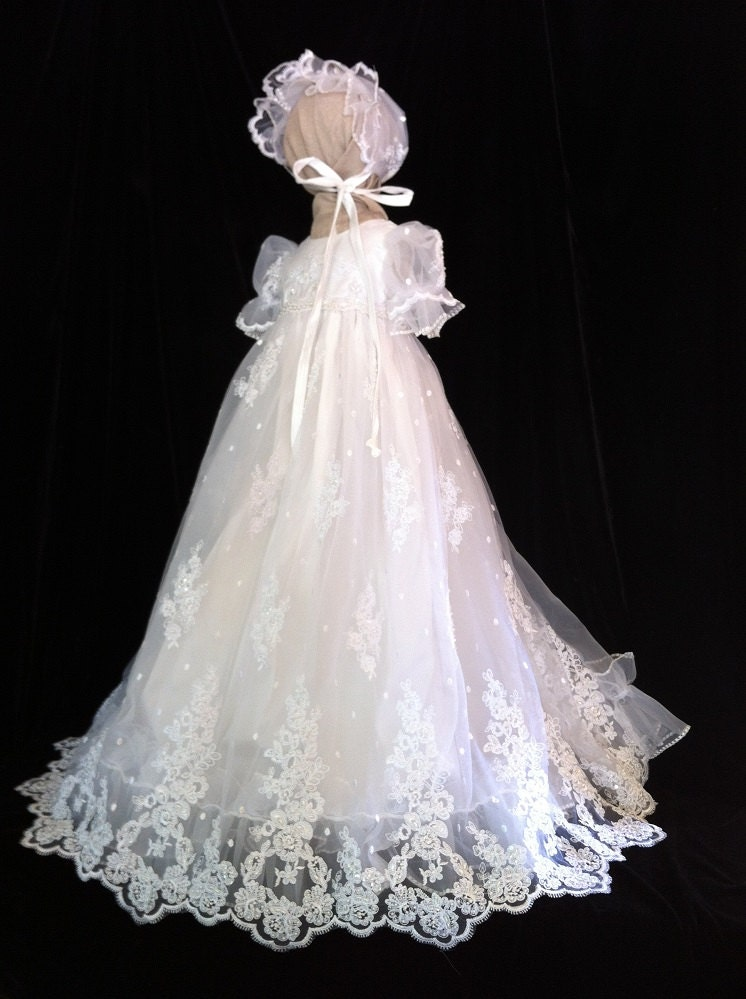 Angela west christening gown clarice size tbd for Making baptism dress from wedding gown