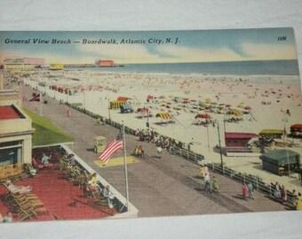 Mid-century Postcard Shows Atlantic City Boardwalk, 1950s Linen Postcard, Unused