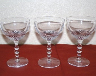 Three 1940s Tear Drop 5 inch Stems by Duncan Miller