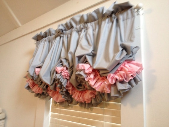 Grey Gray Double Ruffle Balloon Curtain With Pink By