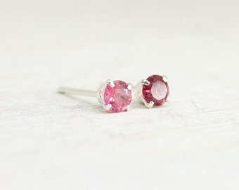 Tiny Pink Tourmaline Earrings with Sterling Silver Posts, second hole pink stud earrings