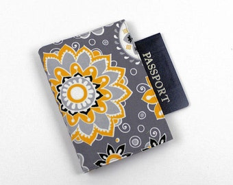 Passport Cover with Velcro Closure, Travel Wallet, Gray and Yellow Floral Fabric, U.S and Canadian Passport Cover