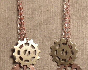 Steampunk gear earrings, mixed metals. 061403