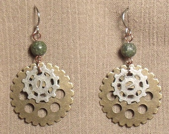 Steampunk gear earrings, mixed metals, Russian serpentine bead. 061415
