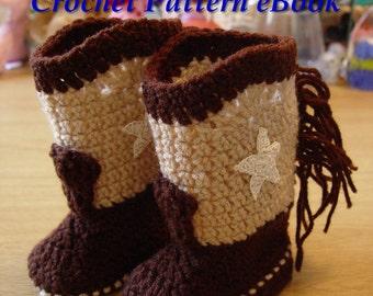 Western Cowboy Baby Booties Boots Crochet Pattern PDF eBook Digital Download for Boy or Girl