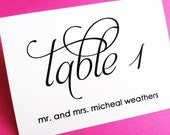 Scripted Place Cards, Wedding Place Cards, Escort Card, Wedding Name Cards, Table Assignment Cards, Table Name Cards