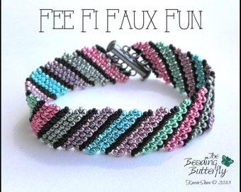 Fee Fi Faux Fun Bracelet Tutorial - Diagonal FRAW pattern - Digital Download