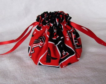 College Team Jewelry Bag - Medium Size - Travel Jewelry Pouch - Fabric Jewelry Tote - TEXAS TECH