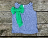 toddler girl bow tank--signature grass green polkadot bow--size 2t and 4t--hudson & ruthie