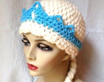 Winter Snow Frozen Elsa Crochet Hat Girl Beanie Braids Cream Blue Disney Princess Costume Halloween Dressup Warm Disney Theme Gifts JE505BB2