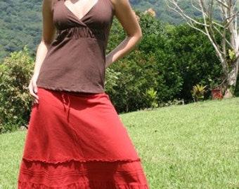 SOLUNA Open wide A cut long skirt with folds and embroidering around in a wrinkled 100% cotton muslin fabric