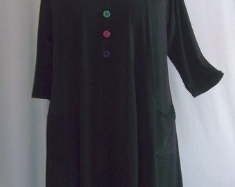 Coco and Juan,  Lagenlook,  Plus Size Top, Black Traveler Knit Trapeze Tunic,  Size 1 (fits 1X/2X)  Bust 50 inches