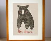 Bear Wall Art, Bear Room Decor, Forest Animal Print, Childrens Room Print, Bear Nursery Print