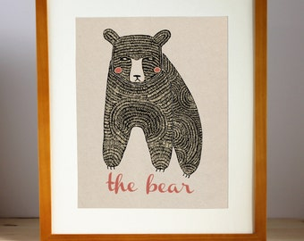 Bear Wall Art, Bear Room Decor, Forest Animal Print, Childrens Room Print, Bear Nursery Print