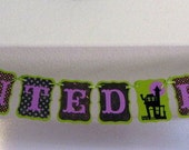 SALE*** Was 30.20 -  Halloween Banner - HAUNTED HOUSE Paper Garland, Decoration party dance swag bunting black purple green