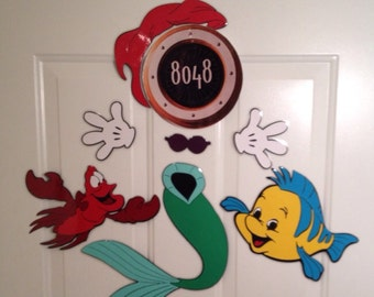Princess Ariel Mermaid and flounder and Sebastian Minnie Mouse Body Part Stateroom Door Magnets for Disney Cruise