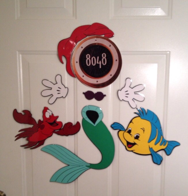 Princess Ariel Mermaid and flounder and Sebastian Minnie Mouse Body Part Stateroom Door Magnets for Disney : disney door - Pezcame.Com